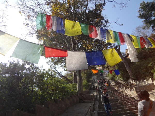 Nepal: Stairs leading to Swayambhunath, aka The Monkey Temple